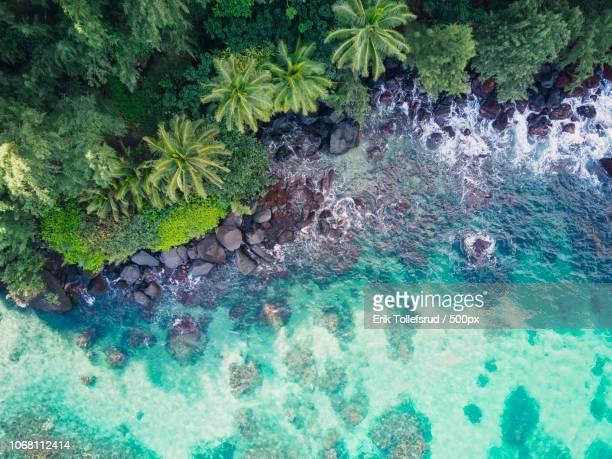 Clear ocean water with rocky seashore
