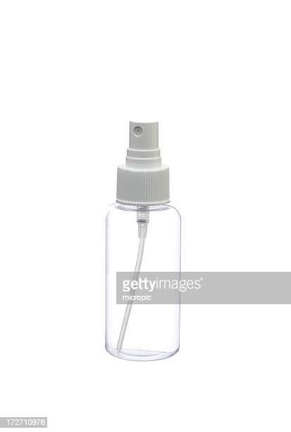 Clear plastic white misting spray bottle