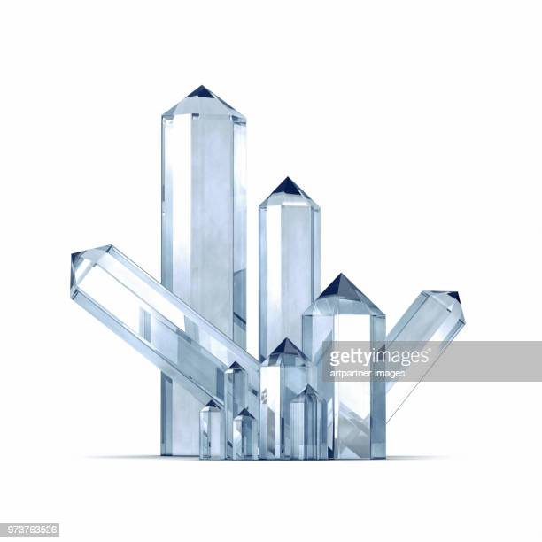 clear quartz crystals against white background - crystal stock pictures, royalty-free photos & images