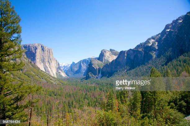 Clear sky above forested valley and landmark mountain peaks