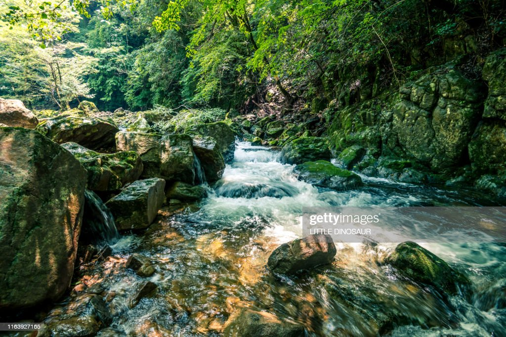 Clear stream flowing between rocks. At Akame 48 waterfall : Stock Photo