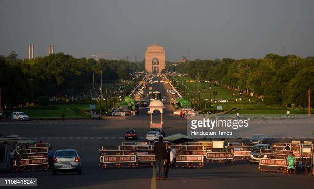 Clear view of India Gate at Rajpath on July 29, 2019 in New Delhi, India. On Monday System of Air Quality and Weather Forecasting And Research which...