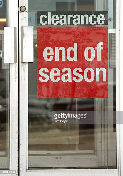 A 'Clearance End Of Season' sign is visible on an entrance to a Sears department store August 2002 at the Golf Mill Shopping Center in Niles Illinois...