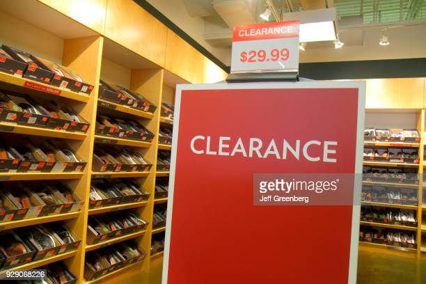 A clearance sign inside a shoe store at Miromar Outlets
