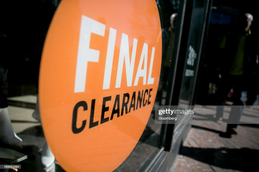 A clearance sign is posted in the window of a Karen Miller Ltd. retail store in the Georgetown neighborhood of Washington, D.C., U.S., on Saturday, March 9, 2013. The U.S. Census Bureau is expected to release advance retail sales data for February on March 13. Photographer: Andrew Harrer/Bloomberg via Getty Images