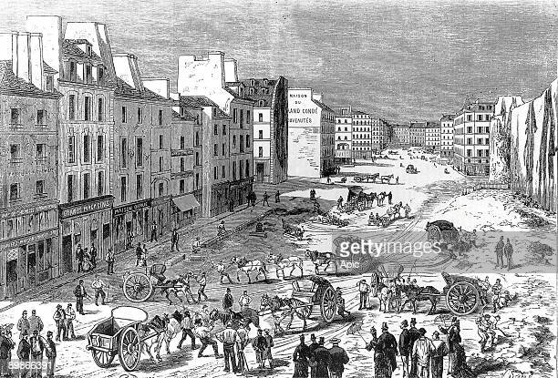 clearing of Saint Germain boulevard in Paris during Haussmann work in 1887 engraving
