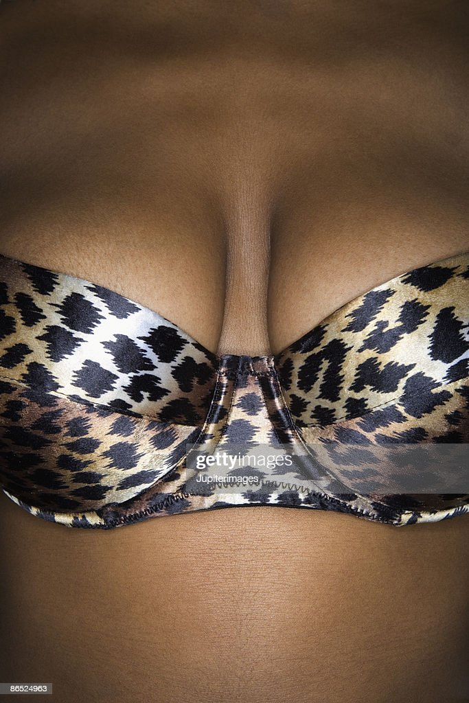 Cleavage of woman wearing animal print bra : Stock Photo