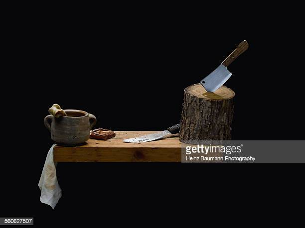 Cleaver, knife, bone and mousetrap