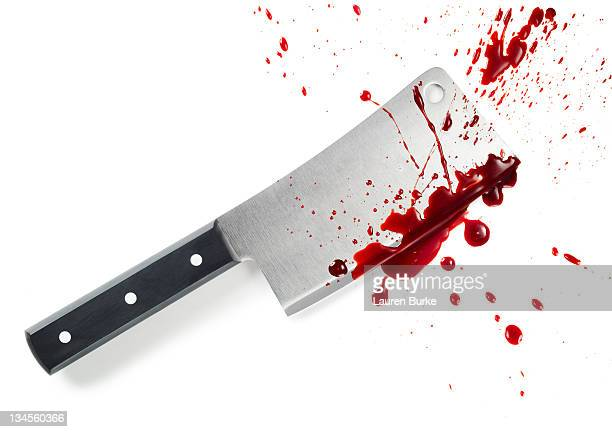 cleaver with blood splatter - human blood stock pictures, royalty-free photos & images