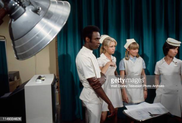 Cleavon Little Joan Van Ark Nancy Fox Reva Rose appearing on the ABC tv series 'The New Temperatures Rising Show' episode 'RX Nose Job'