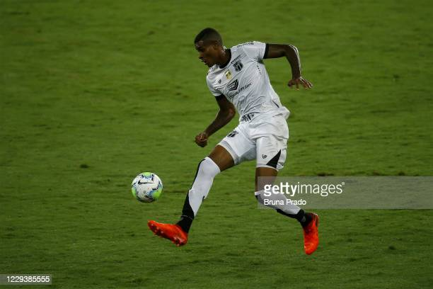 Cleber of Ceara controls the ball during the match between Botafogo and Ceara as part of the Brasileirao Series A at Engenhao Stadium on October 31,...