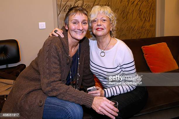 Clelia Ventura and Miss Georges Lautner pose backstage following the show of impersonator Laurent Gerra Un spectacle Normal at L'Olympia on December...