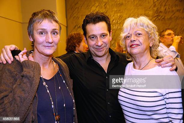 Clelia Ventura Laurent Gerra and Miss Georges Lautner pose backstage following the show of impersonator Laurent Gerra Un spectacle Normal at...