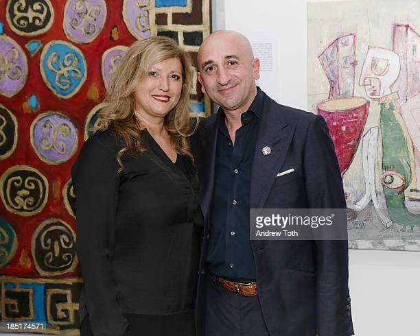 Clelia Zolli and Enrico Pedico attend the Clen Gallery Art Exhibition at Rogue Space on October 17 2013 in New York City
