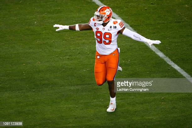 Clelin Ferrell of the Clemson Tigers celebrates a defensive play against the Alabama Crimson Tide in the College Football Playoff National...