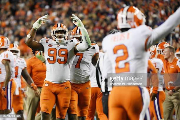 Clelin Ferrell of the Clemson Tigers celebrates against the Alabama Crimson Tide in the CFP National Championship presented by ATT at Levi's Stadium...