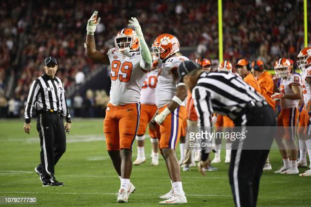 Clelin Ferrell of the Clemson Tigers celebrates his teams 4416 win over the Alabama Crimson Tide in the CFP National Championship presented by ATT at...