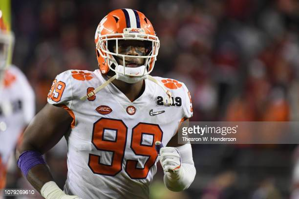 Clelin Ferrell of the Clemson Tigers react against the Alabama Crimson Tide in the CFP National Championship presented by ATT at Levi's Stadium on...