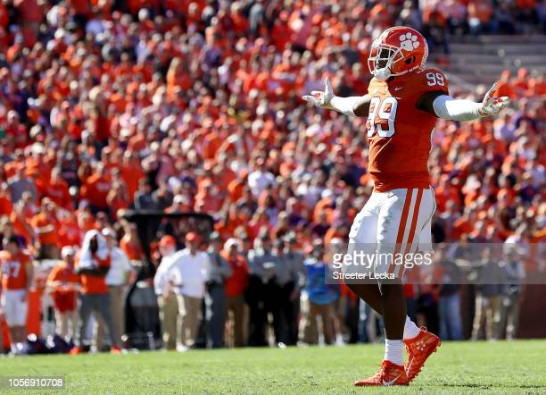 Clelin Ferrell of the Clemson Tigers reacts after a call during their game against the Louisville Cardinals at Clemson Memorial Stadium on November 3...