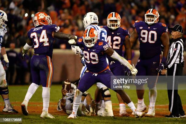 Clelin Ferrell of the Clemson Tigers reacts after a defensive play against the Duke Blue Devils at Clemson Memorial Stadium on November 17 2018 in...