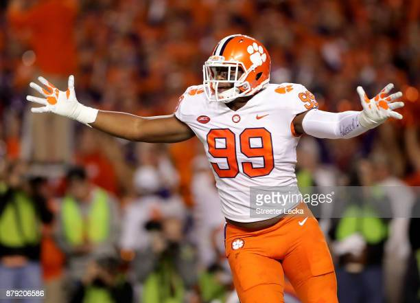 Clelin Ferrell of the Clemson Tigers reacts after a play against the South Carolina Gamecocks during their game at WilliamsBrice Stadium on November...