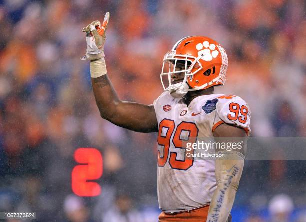 Clelin Ferrell of the Clemson Tigers reacts after making a tackle for a loss against the Pittsburgh Panthers during the first quarter of their game...