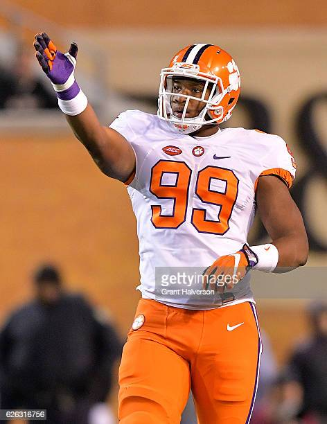 Clelin Ferrell of the Clemson Tigers reacts during the game against the Wake Forest Demon Deacons at BBT Field on November 19 2016 in Winston Salem...
