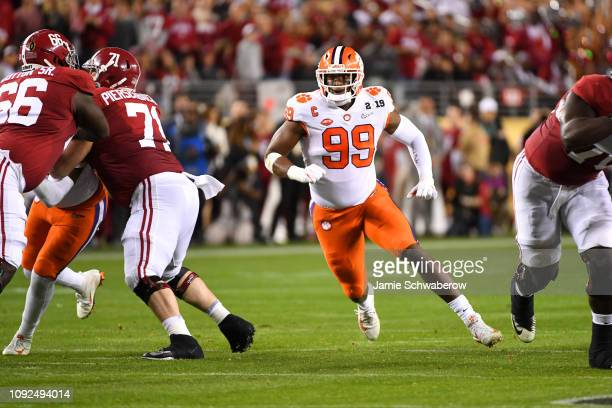 Clelin Ferrell of the Clemson Tigers rushes the quarterback against the Alabama Crimson Tide during the College Football Playoff National...