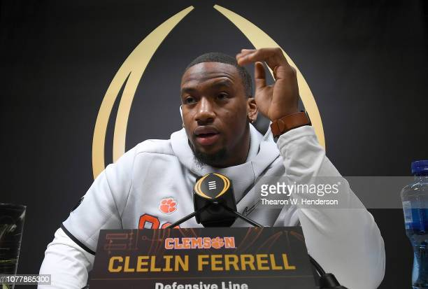 Clelin Ferrell of the Clemson Tigers speaks to the media during the College Football Playoff National Championship Media Day at SAP Center on January...