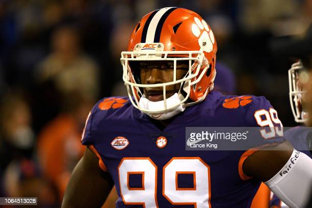 Clelin Ferrell of the Clemson Tigers warms up prior to their game against the Duke Blue Devils at Clemson Memorial Stadium on November 17 2018 in...