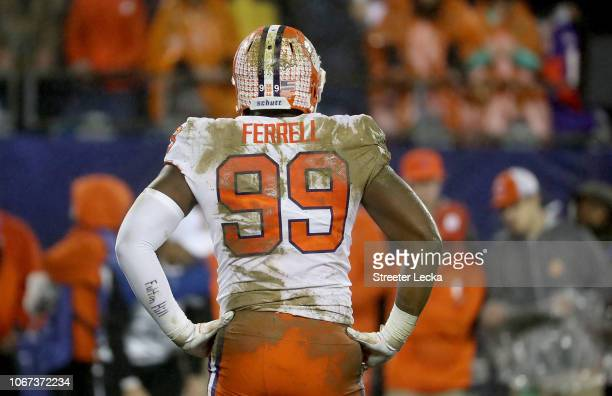 Clelin Ferrell of the Clemson Tigers watches on against the Pittsburgh Panthers during their game at Bank of America Stadium on December 1 2018 in...