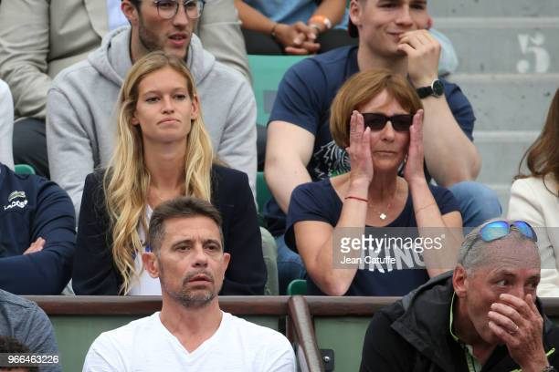 Clemence Bertrand girlfriend of Lucas Pouille and his mother Lena Stenlund Pouille below Bruno Lopes aka Kook Shen of NTM during Day Six of the 2018...