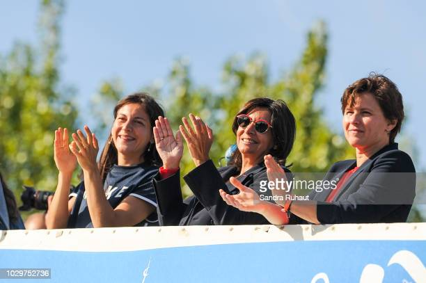 Clemence Calvin Anne Hidalgo mayor of Paris and Roxana Maracineanu new french sports minister during the La Parisienne on September 9 2018 in Paris...