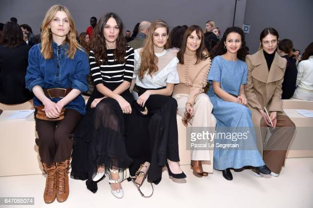 Clemence Poesy a guestNoemie SchmidtAna Girardota guest and Aymeline Valade attend the Chloe show as part of the Paris Fashion Week Womenswear...