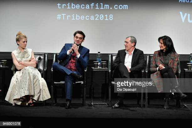 Clemence Poesy Alex Rich and Antonio Banderas speak onstage at the 'Genius Picasso' premiere during the 2018 Tribeca Film Festival at BMCC Tribeca...