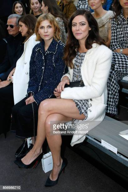 Clemence Poesy and Anna Mouglalis attend the Chanel show as part of the Paris Fashion Week Womenswear Spring/Summer 2018 on October 3 2017 in Paris...