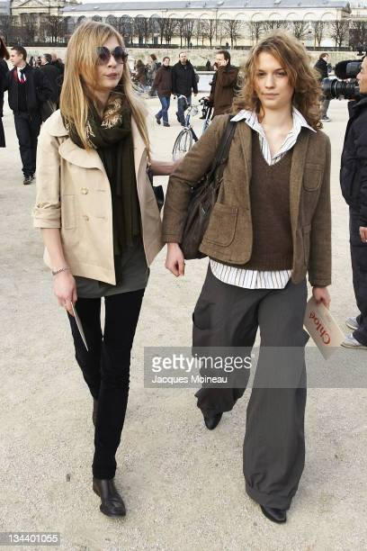 Clemence Poesy and guest during Paris Fashion Week Fall/Winter 2007 Chloe Front Row and Arrivals at Paris Fashion Week Fall/Winter 2007 in Paris...