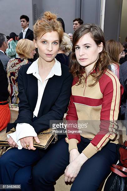 Clemence Poesy and Heloise Letissier attend the Chloe show as part of the Paris Fashion Week Womenswear Fall/Winter 2016/2017 on March 3 2016 in...