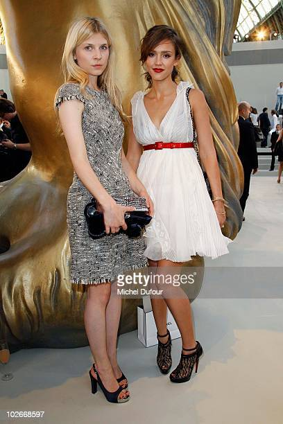 Clemence Poesy and Jessica Alba attend the Chanel Haute Couture fashion show as part of the Paris Haute Couture Fashion Week Fall/Winter 2011 at...