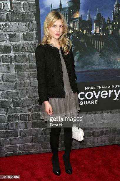 Clemence Poesy attends the grand opening of Harry Potter The Exhibition at the Discovery Times Square Exposition Center on April 4 2011 in New York...