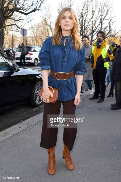 Clemence Poesy is seen arriving at Chloe fashion show during the Paris Fashion Week Womenswear Fall/Winter 2017/2018 on March 2 2017 in Paris France