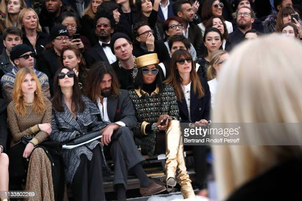 Clemence Poesy Monica Bellucci Nicolas Lefebvre Naomi Campbell Caroline de Maigret make a minute of silence in tribute to Karl Lagerfeld during the...