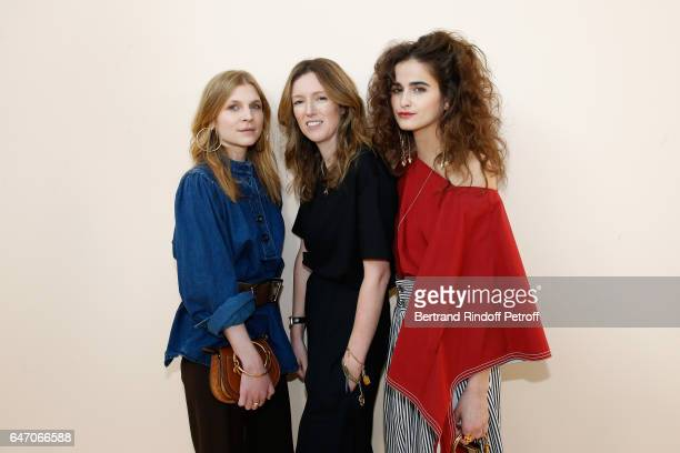 Clemence Poesy Stylidt Clare Waight Keller and Loulou Robert pose backsytage after the Chloe show as part of the Paris Fashion Week Womenswear...