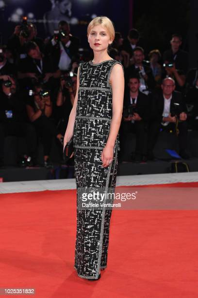 Clemence Poesy walks the red carpet ahead of the 'My Masterpiece ' screening during the 75th Venice Film Festival at Sala Giardino on August 30 2018...