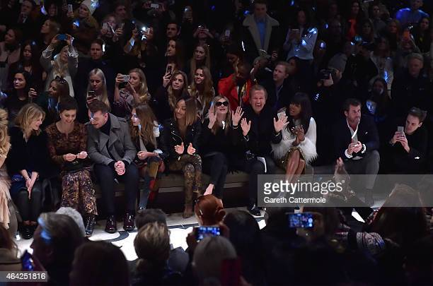 Clemence Posey, Maggie Gyllenhaal, Sam Smith, Cara Delevingne, Jourdan Dunn, Kate Moss, Mario Testino and Naomi Campbell attend the Burberry Prorsum...