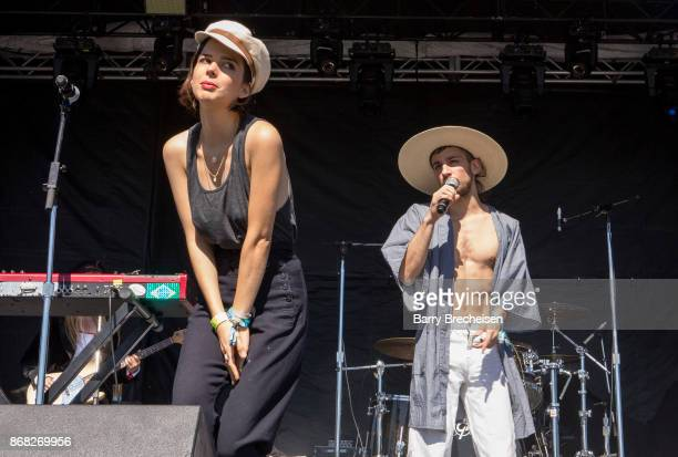 Clemence Quelennec and Marlon Magnee of La Femme perform during Voodoo Music Arts Experience at City Park on October 29 2017 in New Orleans Louisiana