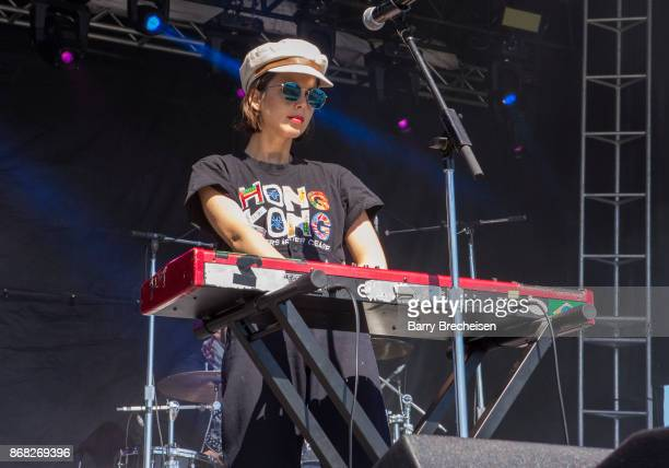 Clemence Quelennec of La Femme performs during Voodoo Music Arts Experience at City Park on October 29 2017 in New Orleans Louisiana