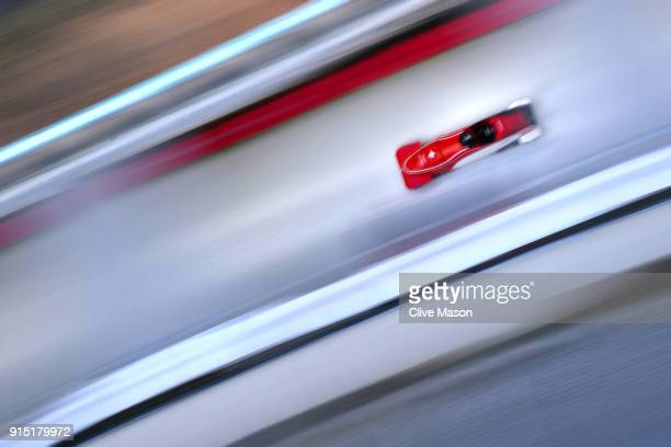 Clemens Bracher of Switzerland trains during Bobsleigh practice ahead of the PyeongChang 2018 Winter Olympic Games at Olympic Sliding Centre on...