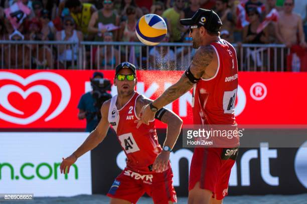 Clemens Doppler and Alexander Horst of Austria in action during Day 9 of the FIVB Beach Volleyball World Championships 2017 on August 5 2017 in...