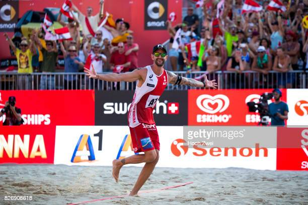 Clemens Doppler of Austria celebrates during Day 9 of the FIVB Beach Volleyball World Championships 2017 on August 5 2017 in Vienna Austria